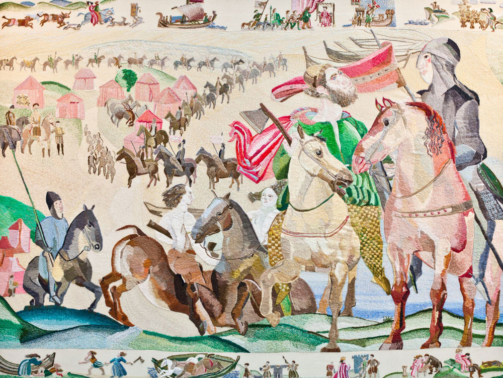 Ros Tapestry Panels - Arrogant Trespass - The Normans Landing at Bannow Strand