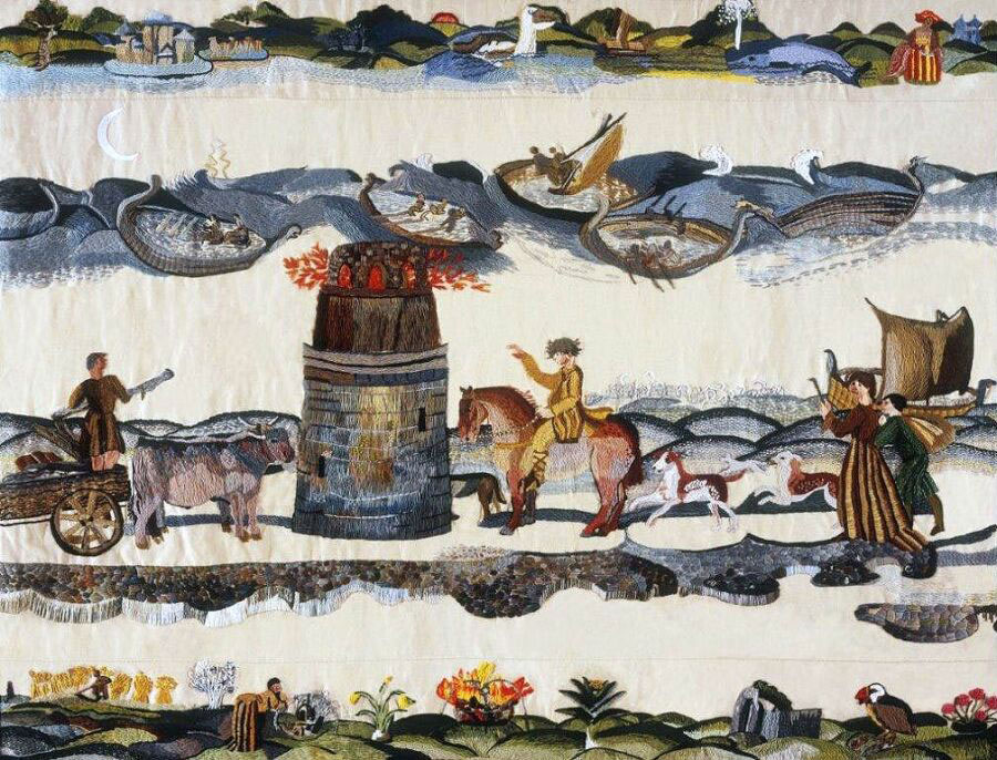 Ros Tapestry Panel - Evening – The Lighthouse at Hook Head
