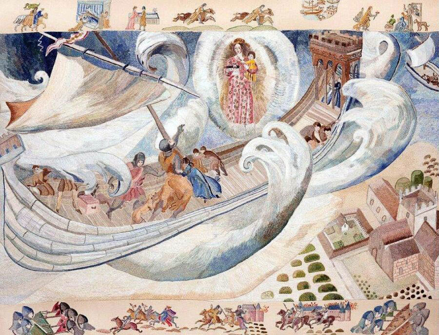 Ros Tapestry Panels - Ex Voto Tintern Abbey – William Marshal's Stormy Crossing to Ireland